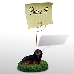 Dachshund Note Holder (Black Longhaired)