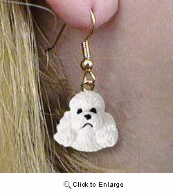 White Poodle Authentic Earrings