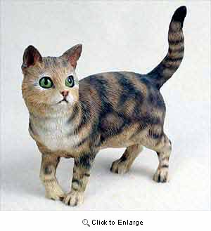 Tabby Cat Figurine Brown