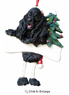 Cocker Spaniel Christmas Tree Ornament - Personalize (Black)