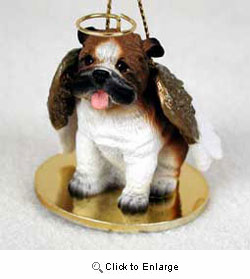 Bulldog Christmas Ornament Angel