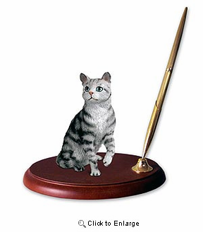 Tabby Cat Pen Holder (Silver)
