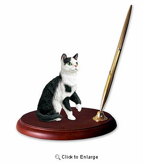 Tabby Cat Pen Holder (Black & White)