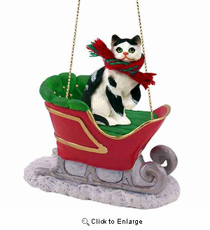 Black and White Cat Sleigh Ride Christmas Ornament