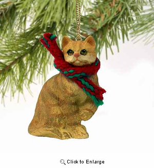 Tabby Cat Tiny One Christmas Ornament Red Shorthaired