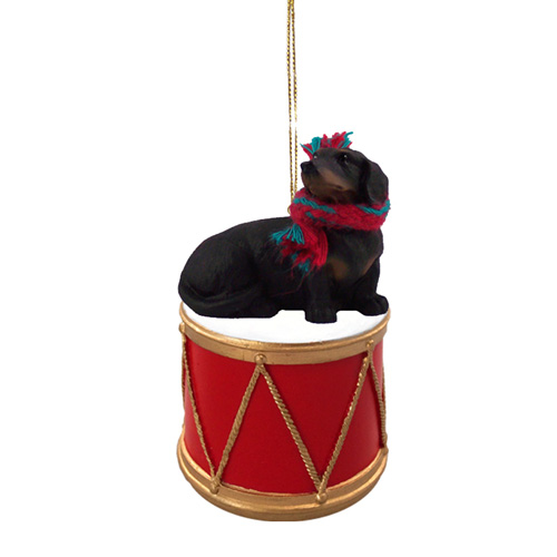 Little Drummer Black Dachshund Christmas Ornament