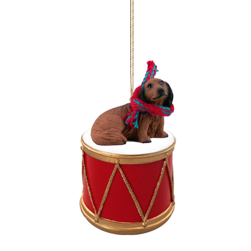 Little Drummer Longhaired Dachshund Christmas Ornament