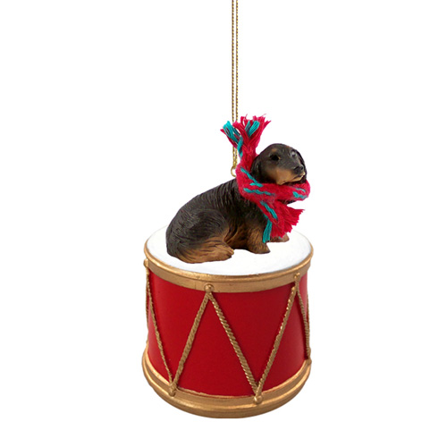 Little Drummer Longhaired Black Dachshund Christmas Ornament