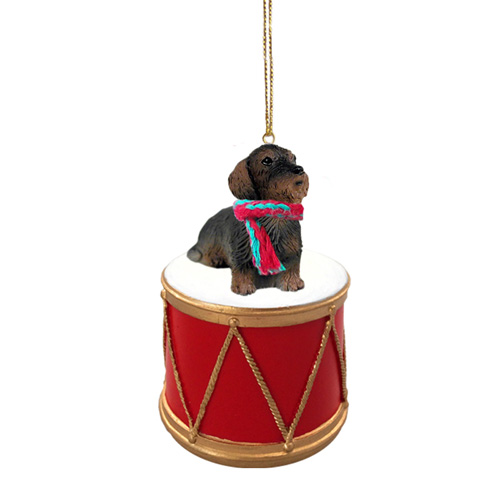 Little Drummer Wire Haired Dachshund Christmas Ornament