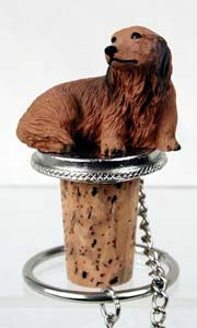 Dachshund Bottle Stopper (Red Longhaired)
