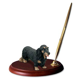 Dachshund Pen Holder (Black Longhaired)