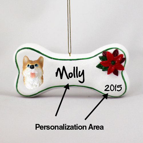 Siberian Husky Personalized Dog Bone Christmas Ornament Red-White Blue Eyes