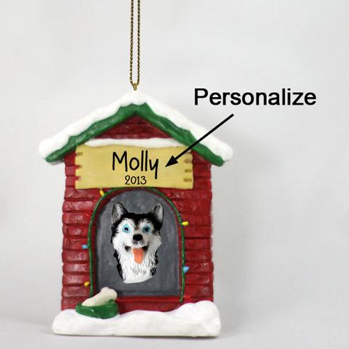 Siberian Husky Personalized Dog House Christmas Ornament