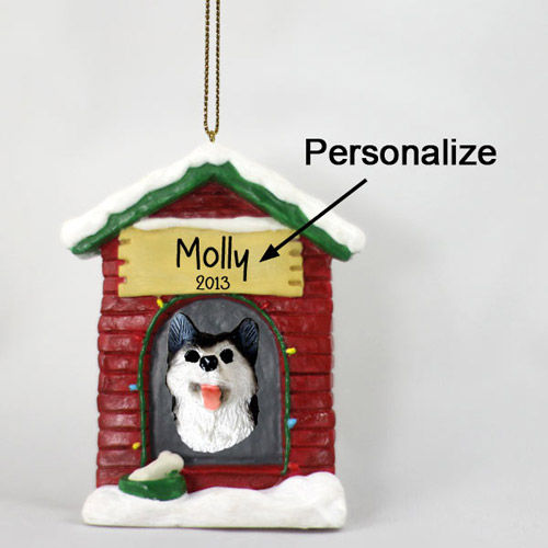 Siberian Husky Personalized Dog House Christmas Ornament Black-White Brown Eyes