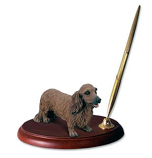 Dachshund Pen Holder (Red Longhaired)