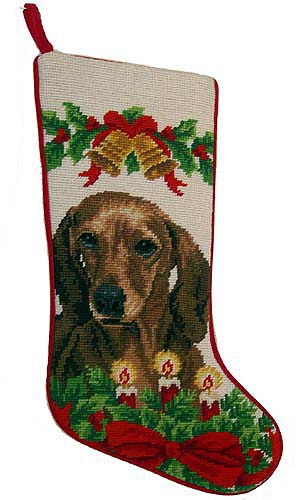Dachshund Christmas Stocking Red