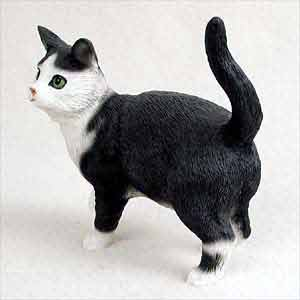 Black and White Cat Figurine