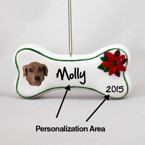 Dachshund Personalized Dog Bone Christmas Ornament Red