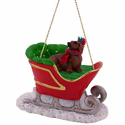 Dachshund Sleigh Ride Christmas Ornament Red