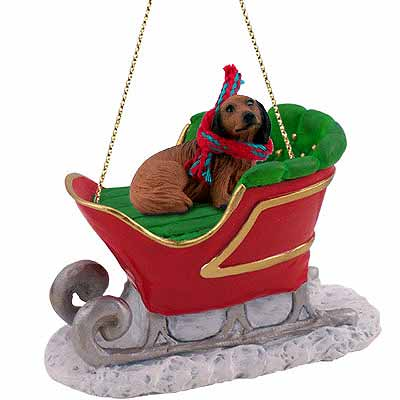 Longhaired Dachshund Sleigh Ride Christmas Ornament Red