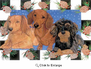 Dachshund Christmas Cards Pinecones