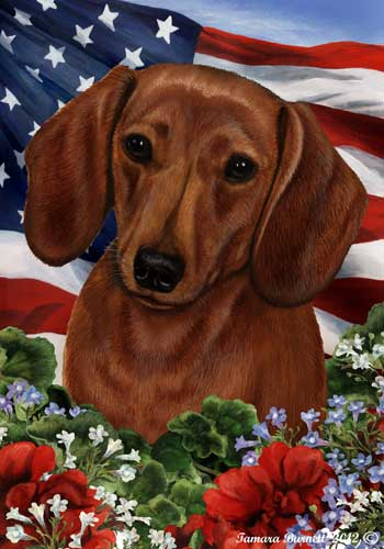 Dachshund House Flag Red