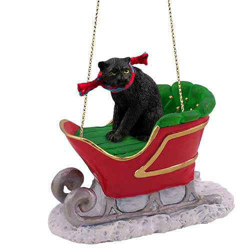 Panther Sleigh Ride Christmas Ornament