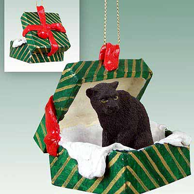 Panther Gift Box Christmas Ornament