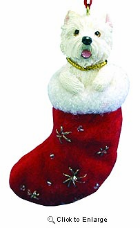 West Highland Terrier Christmas Stocking Ornament