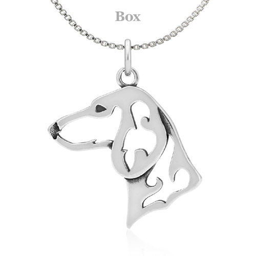 Sterling Silver Dachshund Head Necklace