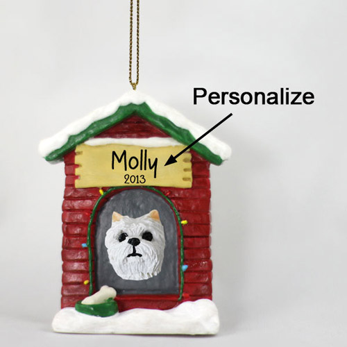 West Highland Terrier Personalized Dog House Christmas Ornament