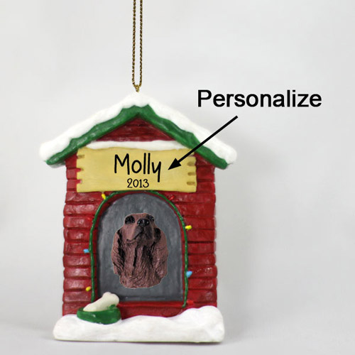 Irish Setter Personalized Dog House Christmas Ornament