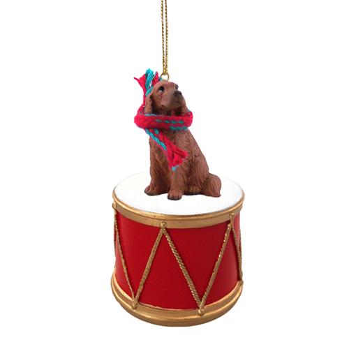 Little Drummer Irish Setter Christmas Ornament