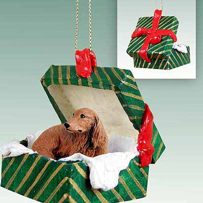 Longhaired Dachshund Gift Box Christmas Ornament Red