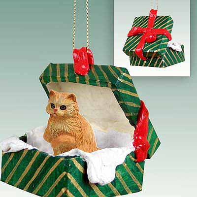 Persian Cat Gift Box Christmas Ornament Red