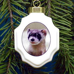 Ferret Christmas Ornament Porcelain