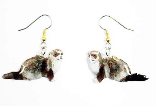 Ferret Earrings Hand Painted Acrylic