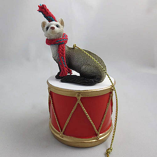 Little Drummer Ferret Christmas Ornament