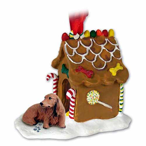Longhaired Dachshund Gingerbread House Christmas Ornament Red