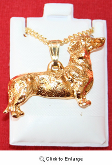 Dachshund 24K Gold Plated Pendant with Necklace