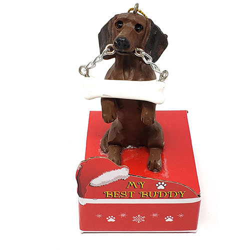 My Best Buddy Dachshund Brown Christmas Ornament