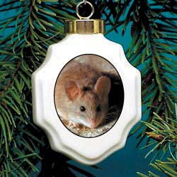 Mouse Christmas Ornament Porcelain
