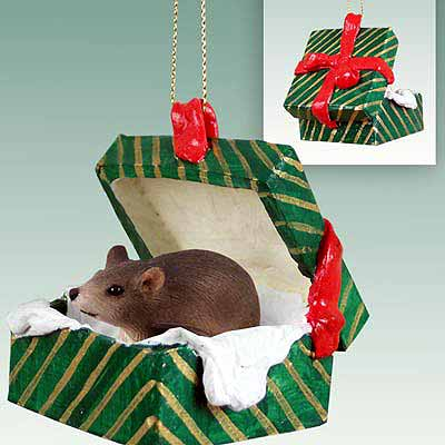 Mouse Gift Box Christmas Ornament