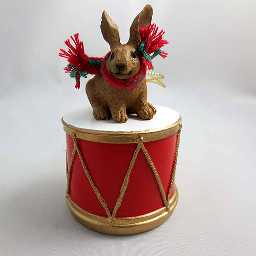 Little Drummer Brown Rabbit Christmas Ornament
