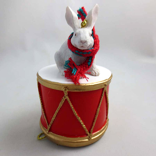 Little Drummer White Rabbit Christmas Ornament