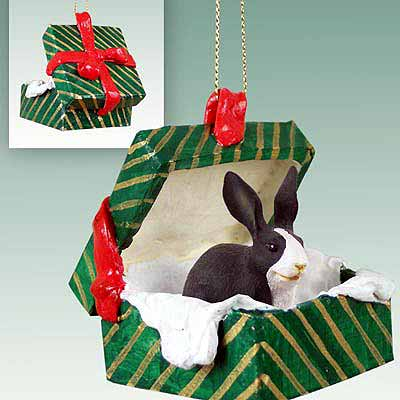 Rabbit Gift Box Christmas Ornament Black-White