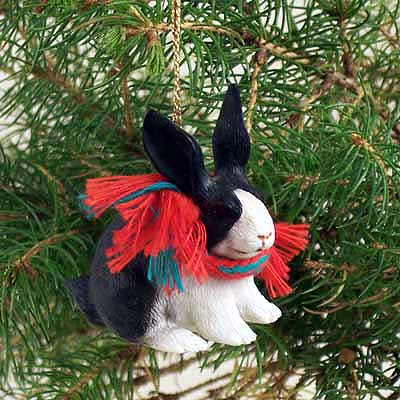 Rabbit Tiny One Christmas Ornament Black-White