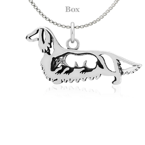 Sterling Silver Dachshund Longhaired W/Badger Necklace