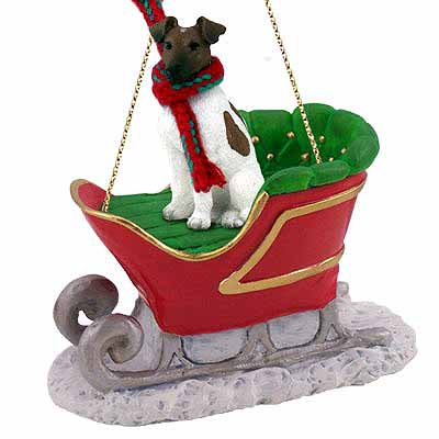 Smooth Fox Terrier Sleigh Ride Christmas Ornament Brown-White