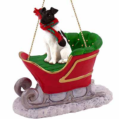 Smooth Fox Terrier Sleigh Ride Christmas Ornament Black-White